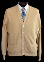 Vintage 70s Khaki Grandpa Cardigan Sweater Basketweave Size Large to XL - $49.99