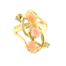 Vintage Gorgeous Abstract Organic Salmon Coral Gold Tone Cocktail Ring B... - $67.49