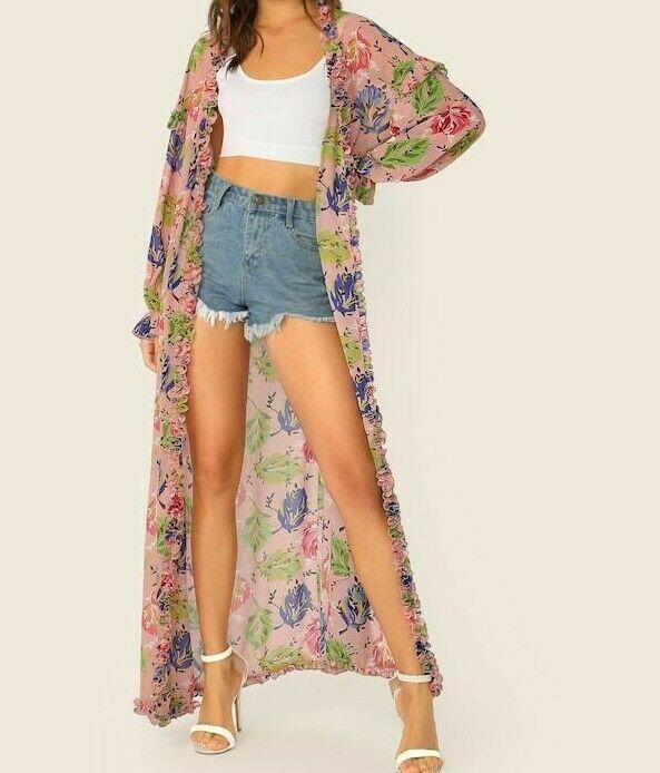 Floral Frill Trim Lantern Sleeve Maxi Kimono Casual Boho Cardigan Beachwear Lady