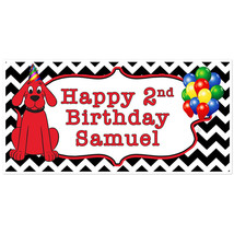 Clifford the Big Red Dog Birthday Banner Personalized Party Backdrop - $22.28