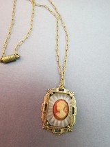 "Antique Art Deco Camphor Glass Cameo Pendant Necklace 14.5"" Chain Victorian - $59.39"