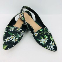 Franco Sarto Scarlett Slingback Flat Shoes Black Floral 8 Pointed Closed Toe - $39.59