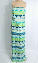 NWT Old Navy Strapless Maxi Sundress M Whtie Blue Green Patchwork Paisle... - $9.50
