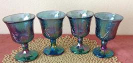 Vintage Harvest Grape Goblets Carnival Blue Glass - $35.00