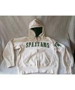 Michigan State Zip Front Hoodie Heavy Sweatshirt Medium Spartans - $29.69