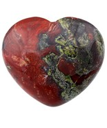 SUNYIK Natural Dragon Blood Jasper Carved Puff Heart Pocket Stone,Healin... - $12.13