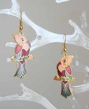 Sweet Pink Cloisonne Enamel Parrot Pierced Earrings 1970s vintage - $14.80