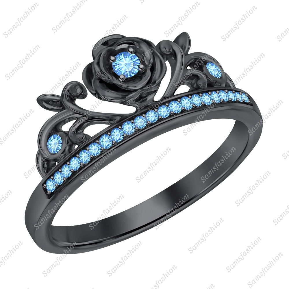 Primary image for Round Cut Blue Topaz 14k Black Gold Over 925 Silver Rose Flower Engagement Ring