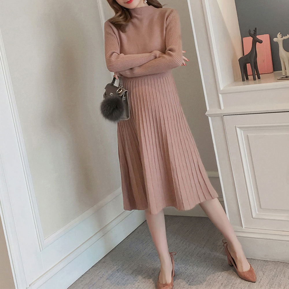 Maternity's Aline Dress Slim Long Sleeve Solid Color Dress image 7