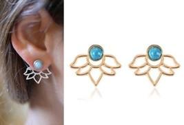 Anthropologie Urban Trend Minimal Lotus Flower Leaf Ear Jacket Earring Stud Bar - $12.99