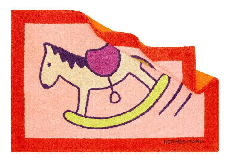 Hermes Art de Vivre beach mat Adada horse orange Auth