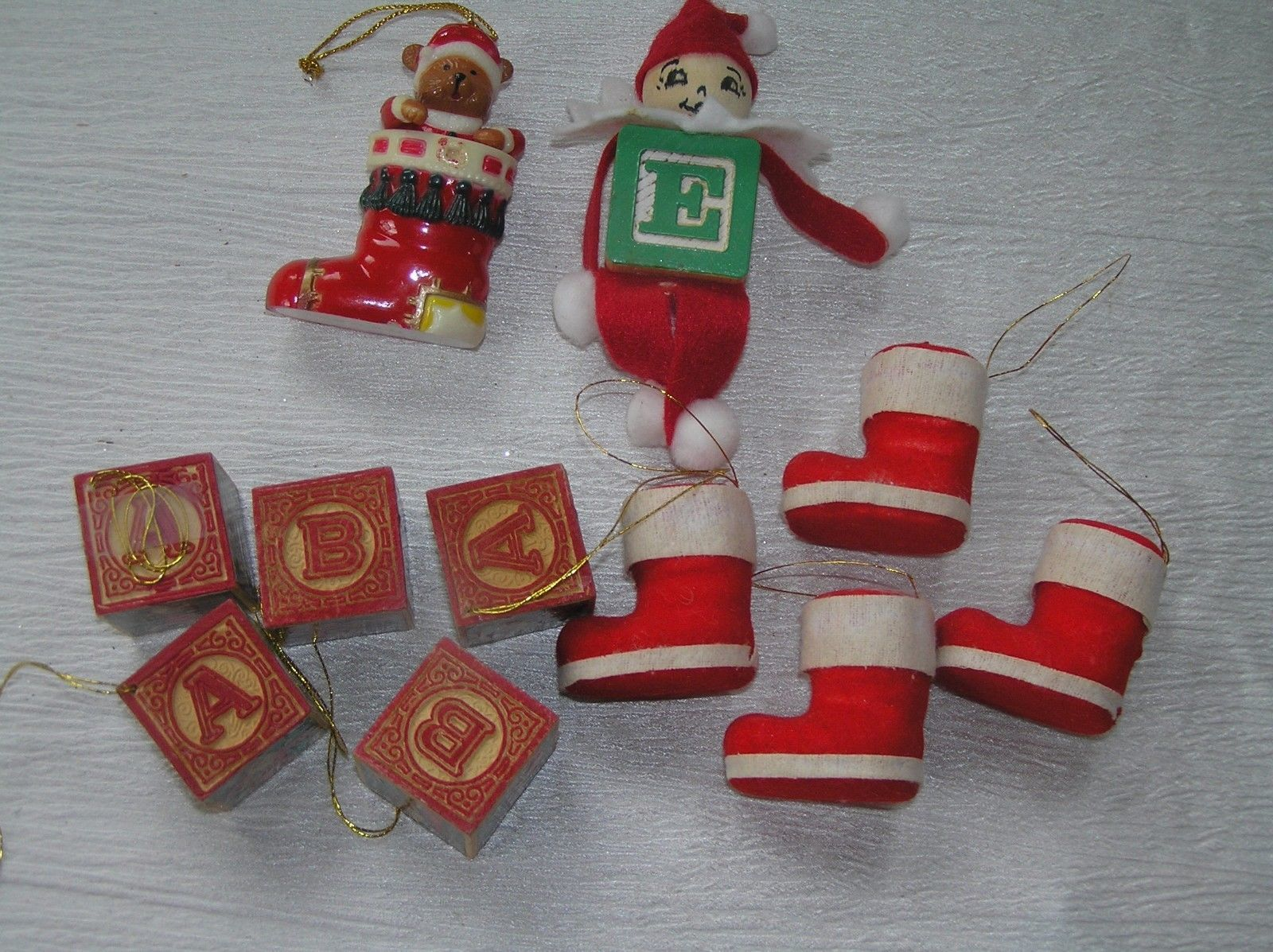 Lot of 11 Faux Wood Building Blocks Folk Art Elf Flocked Christmas Stocking