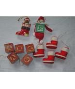Lot of 11 Faux Wood Building Blocks Folk Art Elf Flocked Christmas Stock... - $10.39