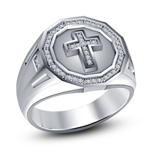 White Gold Plated 925 Silver Round Cut CZ Men's Christian Religious Cross Ring - $87.17
