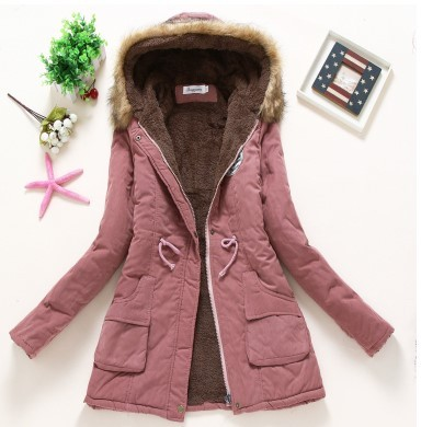 Primary image for Winter Coat Women New Dark Pink Parka Casual Outwear Military Hooded Thickening