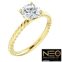 1.00 carat (6.5mm) Round Diamond Cut Neo Moissanite Twist Ring in 14k Gold - $799.00