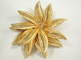RHINESTONES Layered FLOWER Gold Plated BROOCH Pin Brushed n Shiny 3D Vin... - $17.81