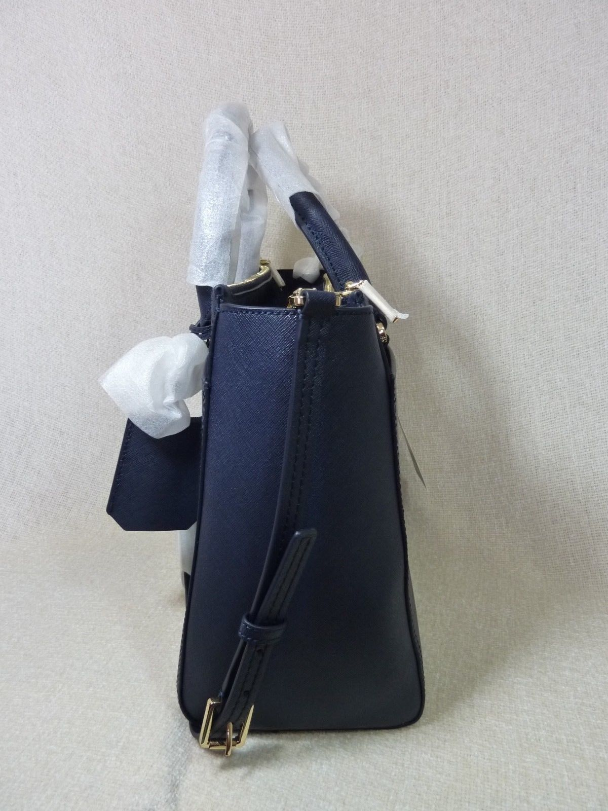 Tory Burch Navy Blue Saffiano Leather Robinson Double-Zip Tote $458 image 3