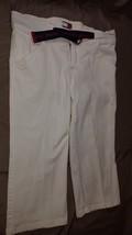 Vintage Tommy Jeans Hilfiger Size 7 White Capri belted Denim Jeans Pants Womens - $12.00
