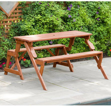 Picnic Table 55 in. x 58 in. x 30 in. Moisture Resistant Wood Medium Brown - $209.68