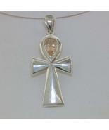 Pendant Ankh Cross Oregon Sunstone Handmade Sterling Silver Unisex Desig... - $160.55