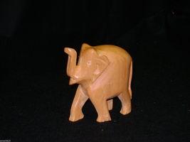 "ELEPHANT FIGURINE HAND CARVED POLISHED WOOD 3 1/4"" HANDMADE ANIMAL WILDLIFE - $11.23"