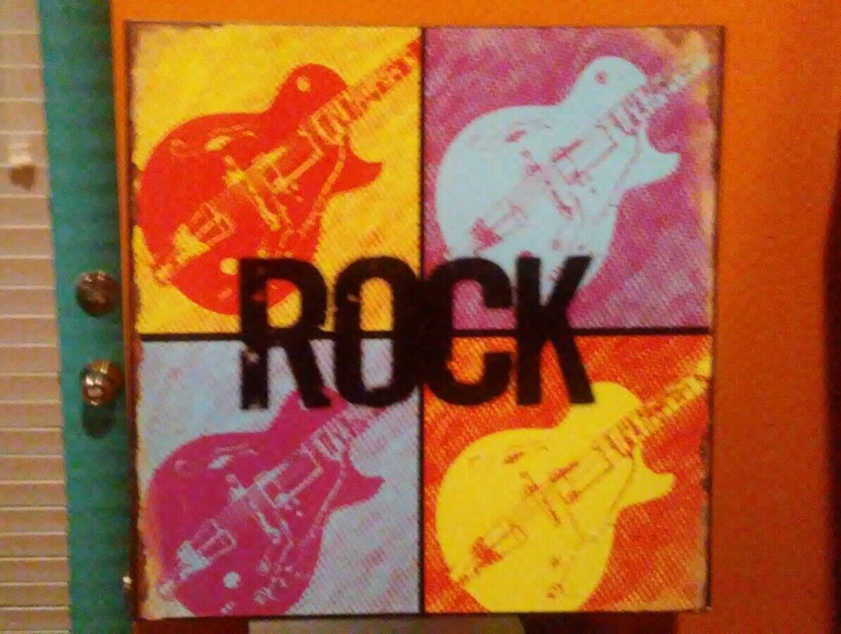 "Primary image for ""Rock"" Guitars METAL DECORATIVE SIGN DENNIS EAST INTERNA 11.25"" Sq # 31189"