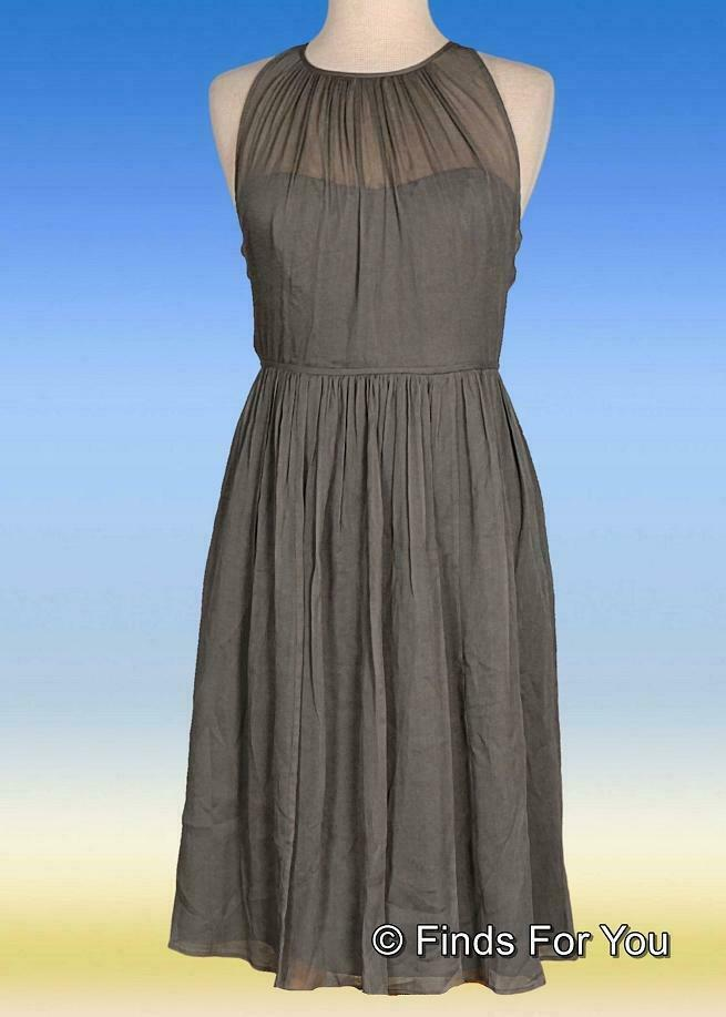 Primary image for J Crew Women's Petite Megan Dress In Silk Chiffon Sleeveless Graphite P2 06123