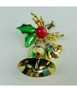 Vintage Holly Leaves w/Berry & Dangling Bells Gold Tone BROOCH PIN Chris... - $13.85