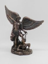 5 Inch Small Saint Michael with Sword Drawn Resin Statue Figurine - $20.29