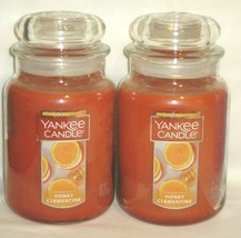 Yankee Candle HONEY CLEMENTINE 22 oz Large Jar Candles Two (2)  - $49.01