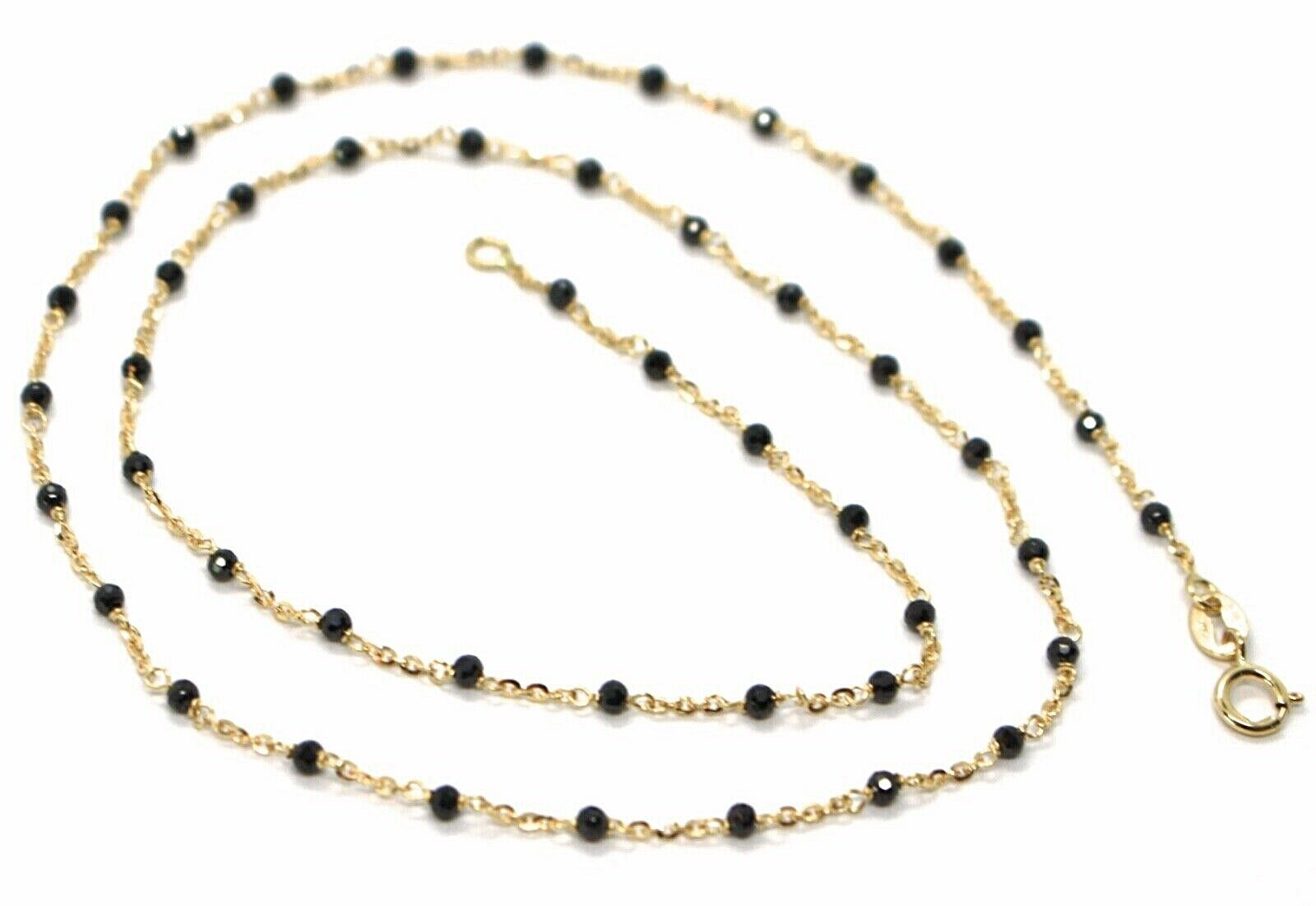 18K YELLOW GOLD NECKLACE, BLACK FACETED CUBIC ZIRCONIA, ROLO CHAIN, 17.7 INCHES