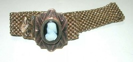 ANTIQUE ESTATE VICTORIAN GOLD FILLED STONE CARVED CAMEO SLIDER BRACELET ... - $150.00