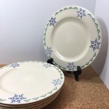 """Pfaltzgraff Set Of 6 Dinner Plates Pattern PFA36, 10 3/8"""" Wide, Snowflakes,Trees - $12.00"""