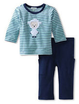 Le Top Boys' Little Lambie- Velour Stripe Shirt & French Terry Pant  - $40.00
