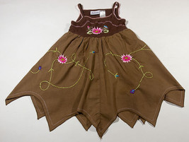 BLUEBERI BOULEVARD GIRLS SIZE 3T DRESS BROWN PINK EMBROIDERED FLORAL FLO... - $12.61