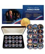 DONALD TRUMP 15-Coin Golden Washington DC Quarter Coin Set w/BOX & CERTIFICATE - $56.06