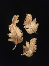 Vintage Hope Chest gold leaf brooch and clip on earrings set