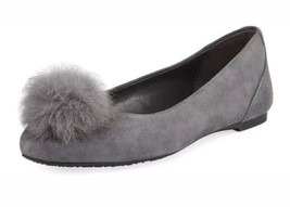 Michael Kors Remi Genuine Rabbit Fur Pompom Ballet Flat Women's 7.5 Char... - $99.00