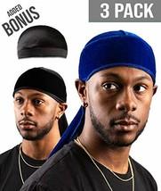 Premium Velvet Durag For Men by Royal Waves | Pack Of 3 | Blue & Black Wave Caps