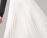 New white metallic long pleated women skirt maxi length metalic autumn fall - $43.12
