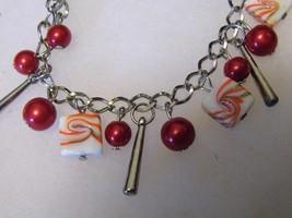 Silver Tone Red Bead Bracelet Pretty Dangling Pendants Costume Fashion J... - $10.66