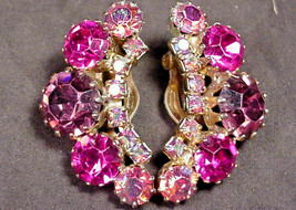 Weiss Earrings Vintage Clip On Up the Ear Style Pink Purple Aurora Borea... - $34.65