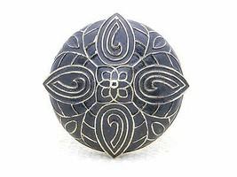 VTG MARVELLA Gold Tone Black Enamel Art Deco Style Large Flower Brooch Pin - $39.60