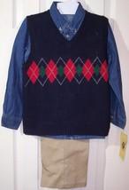 NWT Good Lad Boy's 3 Pc. Argyle Vest, Denim Shirt & Pants Outfit Set, 5,... - $14.99