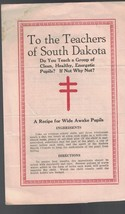 To the Teachers of South Dakota brochure Tuberculosis 1920s - $8.04