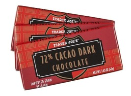3 Trader Joes 72% Cacao Belgium Dark Chocolate Candy Bars No Artificial Flavors - $4.94