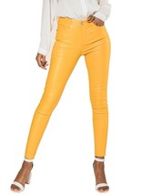 Women's skinny high waist faux Leather Trousers Yellow UK 4-14 - $31.09