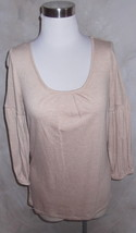 New Talbots Knit Top Poet Blouse Medium Drapey Jersey Knit Beige Light Tan - $14.24