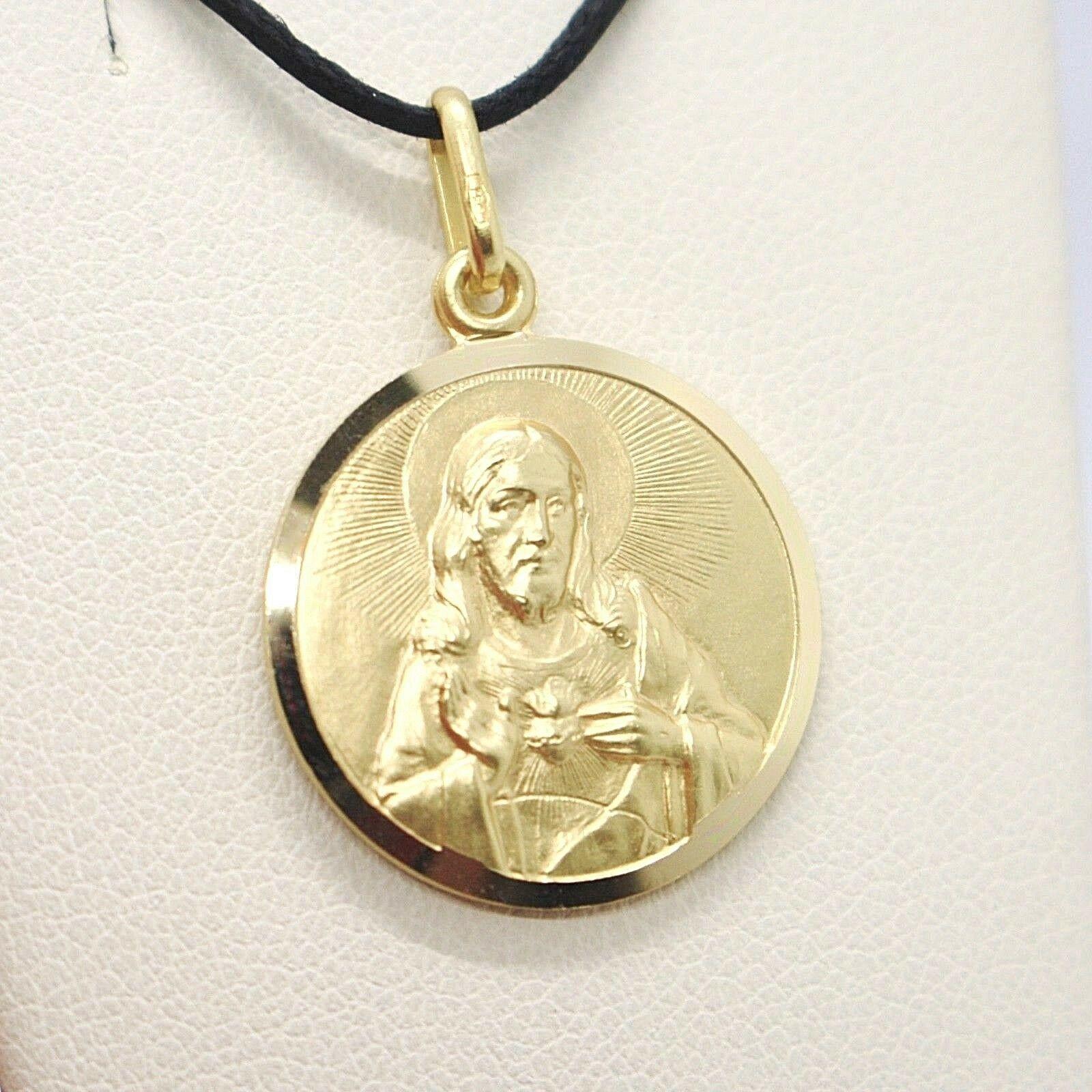 18K YELLOW GOLD SCAPULAR OUR LADY OF MOUNT CARMEL SACRED HEART MEDAL 15mm CARMEN